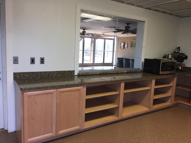 counters and pass through window to activity room